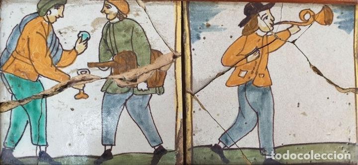 Antigüedades: COMPOSICIÓN DE 4 AZULEJOS BARROCOS DE OFICIOS. CERÁMICA CATALANA. SIGLO XVIII. - Foto 2 - 179148135