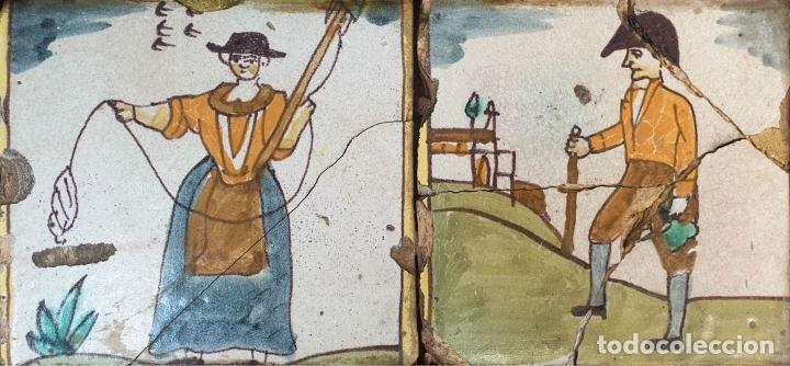 Antigüedades: COMPOSICIÓN DE 4 AZULEJOS BARROCOS DE OFICIOS. CERÁMICA CATALANA. SIGLO XVIII. - Foto 4 - 179148135