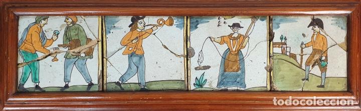 COMPOSICIÓN DE 4 AZULEJOS BARROCOS DE OFICIOS. CERÁMICA CATALANA. SIGLO XVIII. (Antigüedades - Porcelanas y Cerámicas - Azulejos)