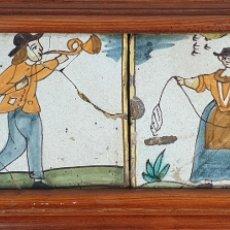 Antigüedades: COMPOSICIÓN DE 4 AZULEJOS BARROCOS DE OFICIOS. CERÁMICA CATALANA. SIGLO XVIII.. Lote 179148135