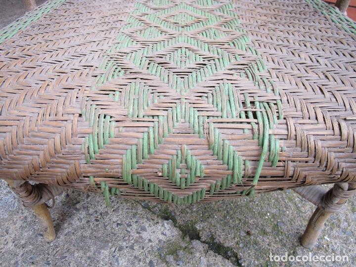 Antigüedades: Sillón de Jardín - Tumbona Modernista - Placa Manufactura Parisina - Mimbre y Caña - Foto 4 - 179148410