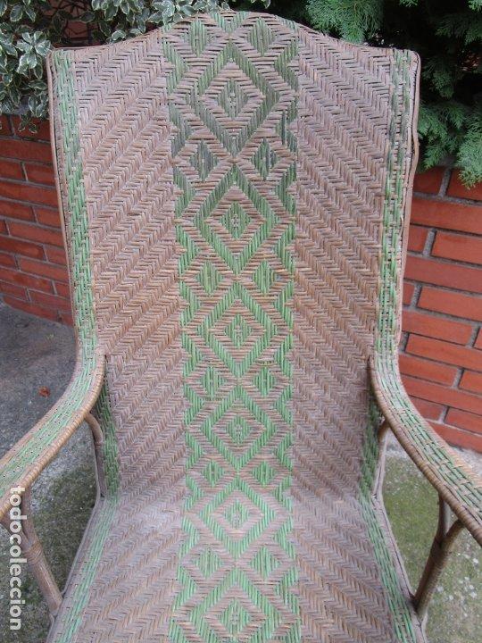 Antigüedades: Sillón de Jardín - Tumbona Modernista - Placa Manufactura Parisina - Mimbre y Caña - Foto 6 - 179148410