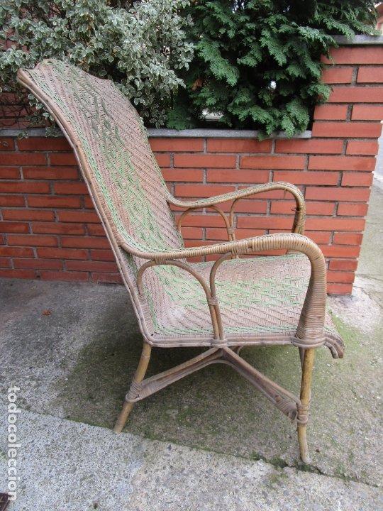 Antigüedades: Sillón de Jardín - Tumbona Modernista - Placa Manufactura Parisina - Mimbre y Caña - Foto 8 - 179148410