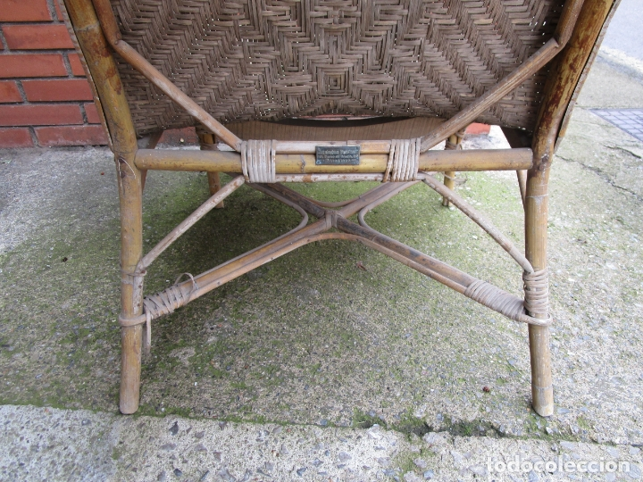 Antigüedades: Sillón de Jardín - Tumbona Modernista - Placa Manufactura Parisina - Mimbre y Caña - Foto 13 - 179148410