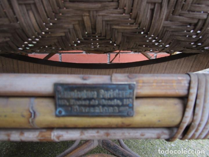 Antigüedades: Sillón de Jardín - Tumbona Modernista - Placa Manufactura Parisina - Mimbre y Caña - Foto 15 - 179148410