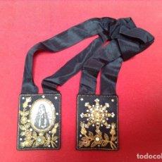Antigüedades: ESCAPULARIO BORDADO CON HILO DE ORO VIRGEN MEDIDAS 7'5 X6 CENTIMETROS . Lote 179154962