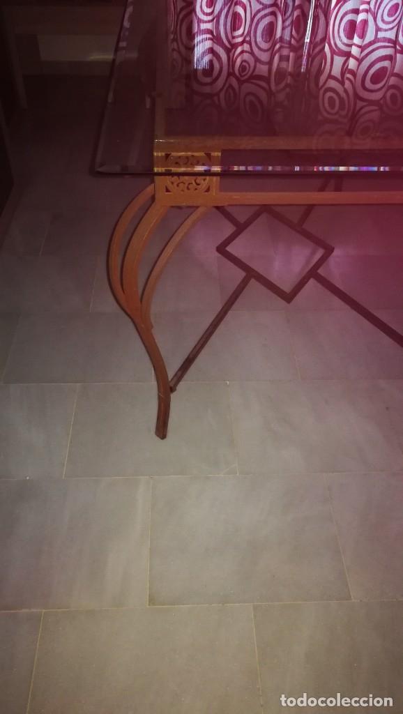 MESA DE FORJA CON CRISTAL (Antigüedades - Muebles Antiguos - Mesas Antiguas)