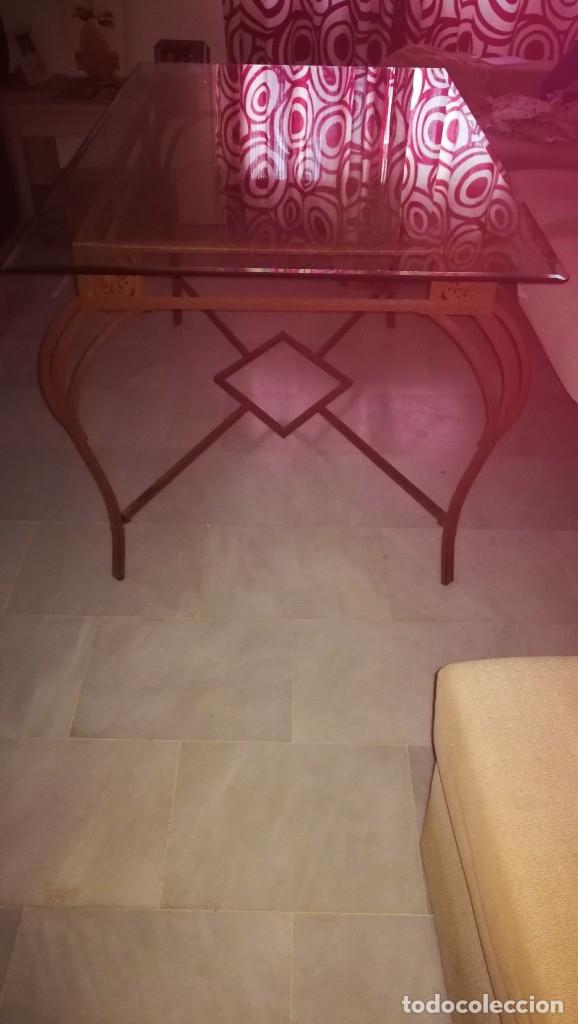 Antigüedades: mesa de forja con cristal - Foto 4 - 179171681