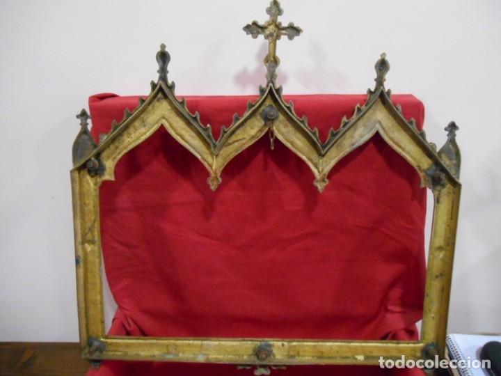 Antigüedades: ANTIGUA SACRA DE BRONCE DORADO - NEOGOTICA -. CIRCA 1900 - - Foto 6 - 179181233