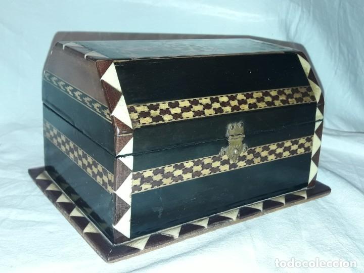 Antigüedades: Bella antigua caja madera marquetería taracea de Granada - Foto 5 - 179203428