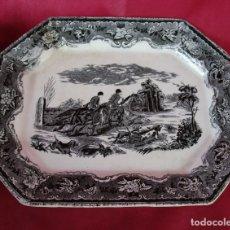 Antigüedades: GRAN BANDEJA FUENTE OCHAVADA CERAMICA LA CARTAGENERA XIX TIPO AMISTAD CARTAGENA CAZA CIERVO. Lote 179203656