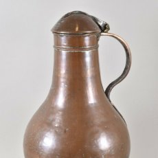 Antigüedades: ANTIGUA RARA Y GRAN JARRA GRANDE SIGLO XVI CON TAPA ABATIBLE MUY BUEN ESTADO PATINA 46 CM. Lote 179206276