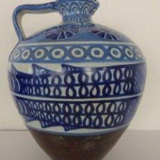 Antigüedades: PRECIOSA - JARRA GRANADINA - CON CUERO - PECES - VINTAGE.. Lote 179207268