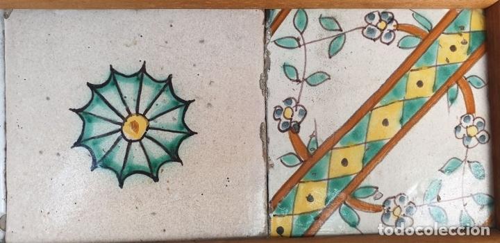 Antigüedades: COMPOSICIÓN DE 5 AZULEJOS BARROCOS. CERÁMICA CATALANA. SIGLO XVII-XVIII. - Foto 4 - 179216127