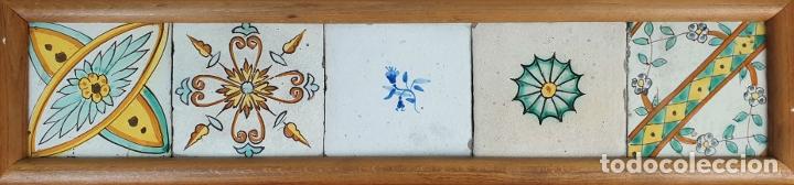 COMPOSICIÓN DE 5 AZULEJOS BARROCOS. CERÁMICA CATALANA. SIGLO XVII-XVIII. (Antigüedades - Porcelanas y Cerámicas - Azulejos)