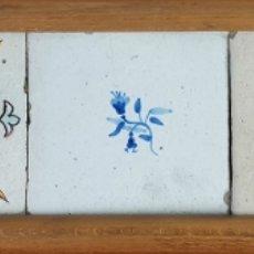 Antigüedades: COMPOSICIÓN DE 5 AZULEJOS BARROCOS. CERÁMICA CATALANA. SIGLO XVII-XVIII. . Lote 179216127