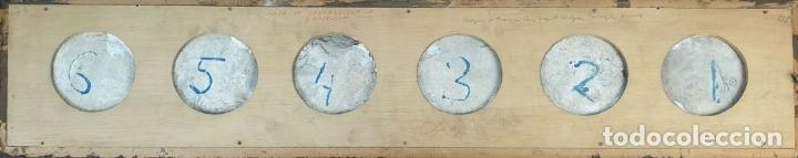 Antigüedades: COMPOSICIÓN DE 6 AZULEJOS BARROCOS. CERÁMICA CATALANA. PINTADOS A MANO. SIGLO XVIII. - Foto 2 - 179216778
