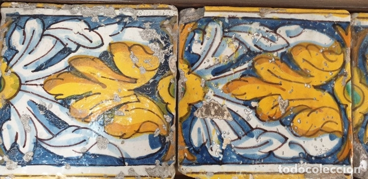 Antigüedades: COMPOSICIÓN DE 6 AZULEJOS BARROCOS. CERÁMICA CATALANA. PINTADOS A MANO. SIGLO XVIII. - Foto 4 - 179216778