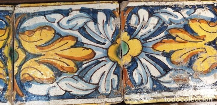 Antigüedades: COMPOSICIÓN DE 6 AZULEJOS BARROCOS. CERÁMICA CATALANA. PINTADOS A MANO. SIGLO XVIII. - Foto 5 - 179216778