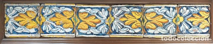 COMPOSICIÓN DE 6 AZULEJOS BARROCOS. CERÁMICA CATALANA. PINTADOS A MANO. SIGLO XVIII. (Antigüedades - Porcelanas y Cerámicas - Azulejos)