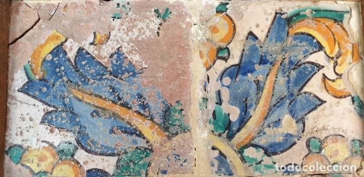 Antigüedades: COMPOSICION DE 4 AZULEJOS BARROCOS. CERÁMICA CATALANA. MOTIVOS FLORALES. SIGLO XVII-XVIII. - Foto 4 - 179222147