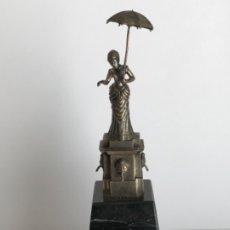 Antigüedades: DAMA DEL PARAGUAS PARAIGUA DE BARCELONA PLATA DE LEY.CONTRASTES.. Lote 179222167