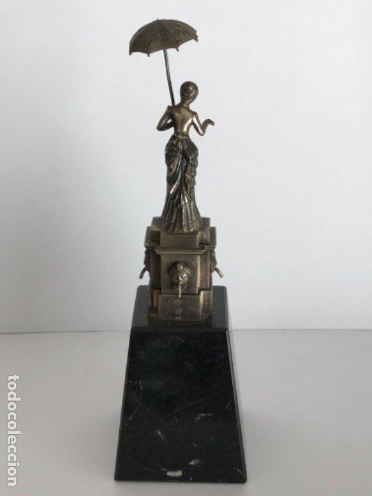 Antigüedades: DAMA DEL PARAGUAS PARAIGUA DE BARCELONA PLATA DE LEY.CONTRASTES. - Foto 5 - 179222167