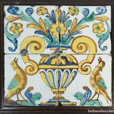 Antigüedades: COMPOSICIÓN DE 4 AZULEJOS BARROCOS. CERÁMICA CATALANA. PINTADOS A MANO. SIGLO XVIII.. Lote 179222891