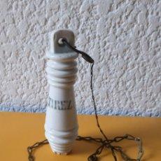 Antigüedades: TIRADOR WC FRANCES DE PORCELANA - TIREZ - 10.5 CMS. Lote 179227656