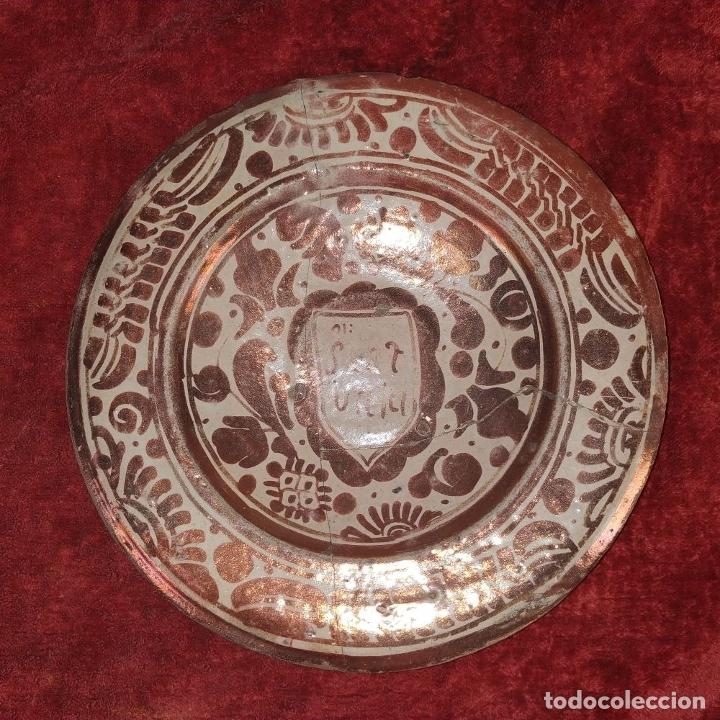 Antigüedades: PLATO GÓTICO. CERÁMICA DE REFLEJOS METÁLICOS. MANISES. ESPAÑA. XVI-XVII - Foto 2 - 179228035