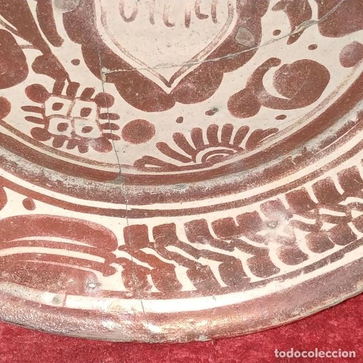 Antigüedades: PLATO GÓTICO. CERÁMICA DE REFLEJOS METÁLICOS. MANISES. ESPAÑA. XVI-XVII - Foto 4 - 179228035