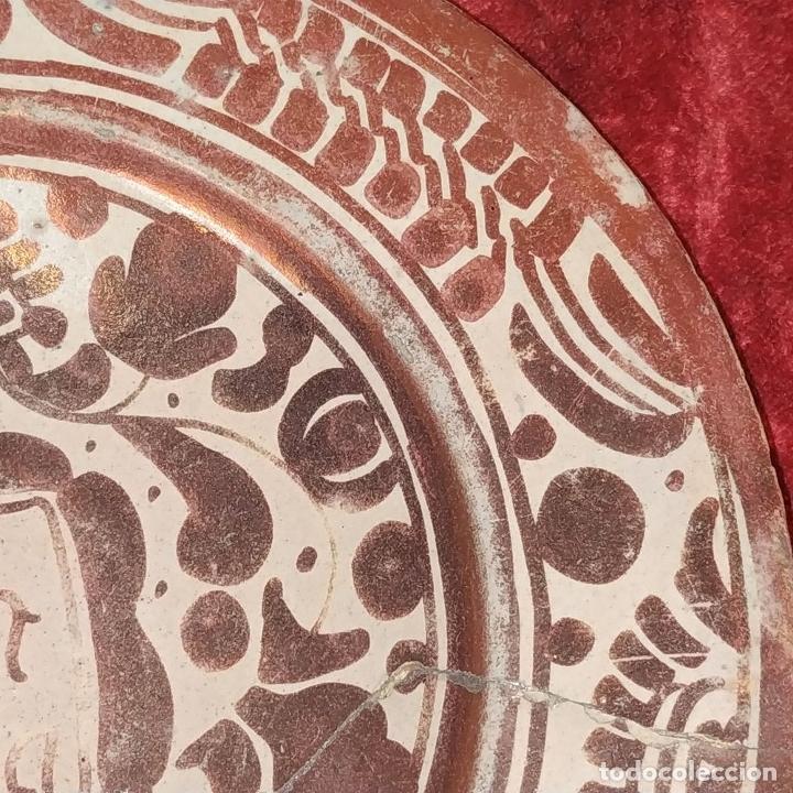 Antigüedades: PLATO GÓTICO. CERÁMICA DE REFLEJOS METÁLICOS. MANISES. ESPAÑA. XVI-XVII - Foto 5 - 179228035