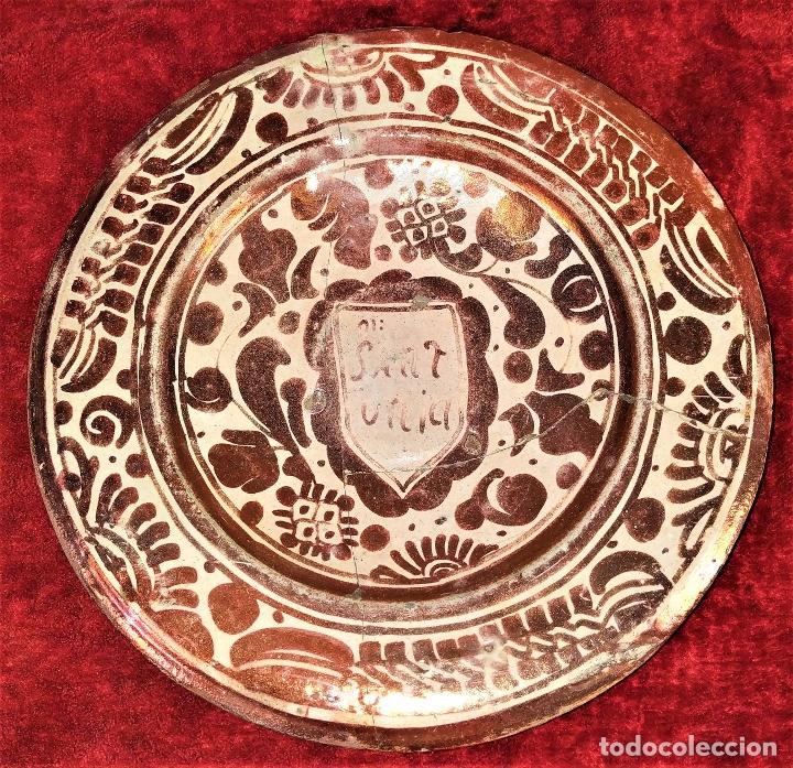 PLATO GÓTICO. CERÁMICA DE REFLEJOS METÁLICOS. MANISES. ESPAÑA. XVI-XVII (Antigüedades - Porcelanas y Cerámicas - Manises)