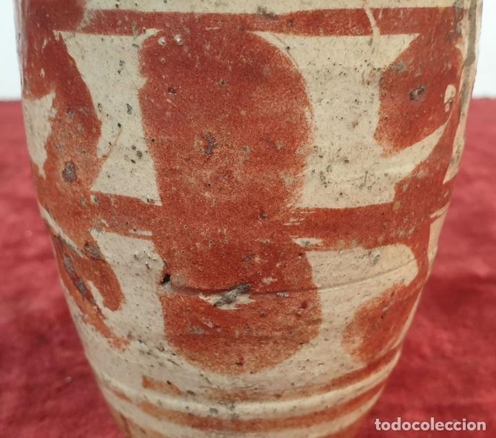 Antigüedades: MIELERO DE CERÁMICA ESMALTADA Y DECORADA CON REFLEJOS. MANISES. SIGLO XVII-XVIII. - Foto 4 - 179228593