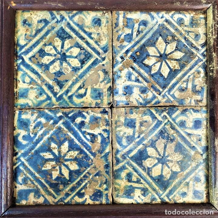 CONJUNTO DE AZULEJOS GÓTICOS. CERÁMICA ESMALTADA. CATALUNYA. ESPAÑA. SIGLOS XV-XVI (Antigüedades - Porcelanas y Cerámicas - Azulejos)