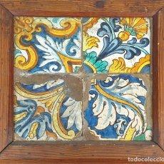 Antigüedades: COMPOSICIÓN DE 4 AZULEJOS BARROCOS. CERÁMICA CATALANA ESMALTADA. SIGLO XVII-XVIII. . Lote 179230455