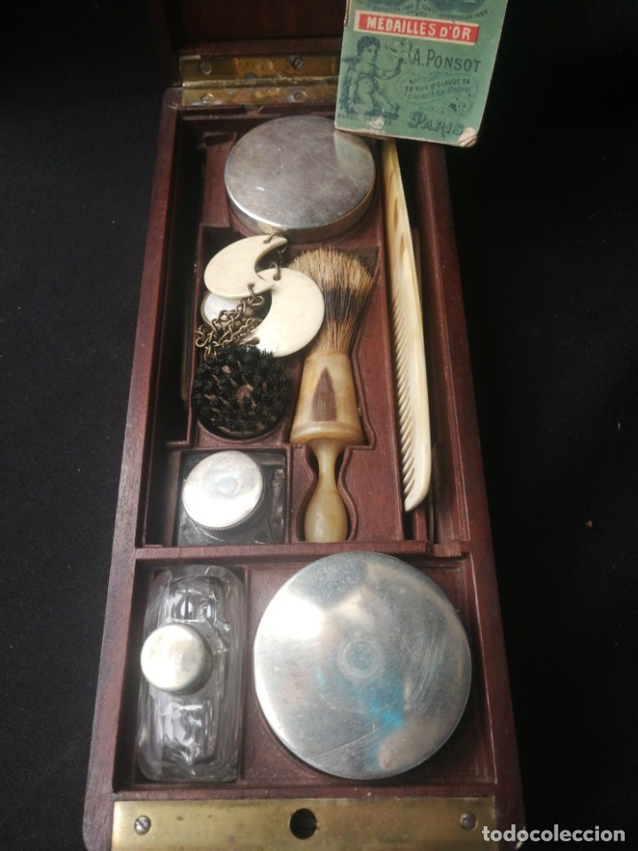 Antigüedades: Caja-tocador victoriano de viaje francés piezas en hueso - Foto 2 - 195064008