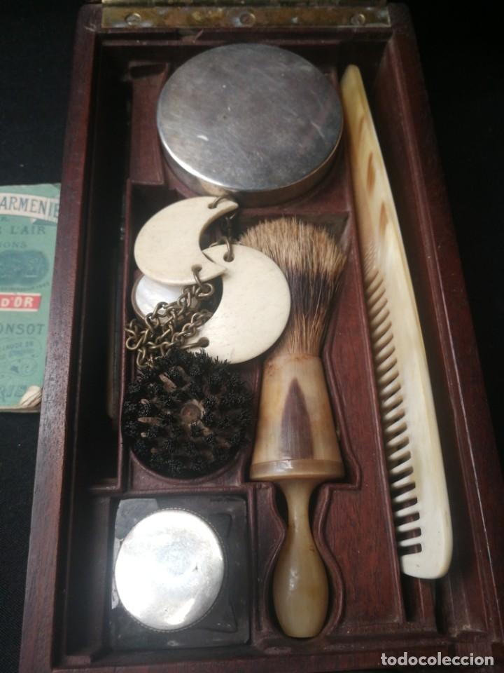 Antigüedades: Caja-tocador victoriano de viaje francés piezas en hueso - Foto 3 - 195064008