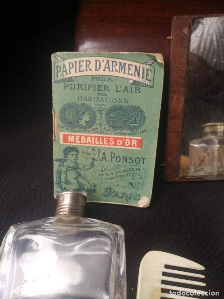 Antigüedades: Caja-tocador victoriano de viaje francés piezas en hueso - Foto 5 - 195064008