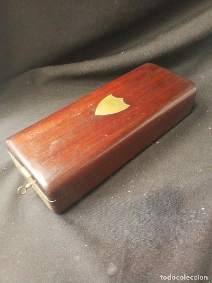 Antigüedades: Caja-tocador victoriano de viaje francés piezas en hueso - Foto 11 - 195064008