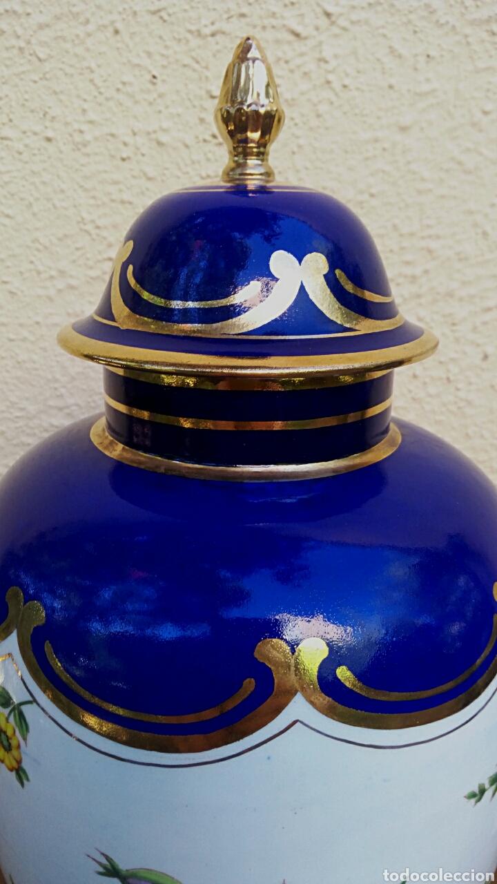 Antigüedades: Jarron frances de porcelana. Decorado mano con motivos florales y oro de ley. Posiblemente Limoges - Foto 4 - 179248748