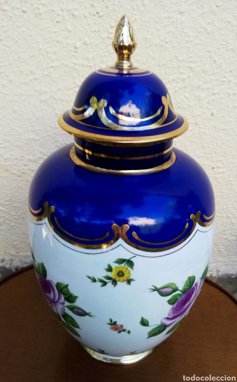 Antigüedades: Jarron frances de porcelana. Decorado mano con motivos florales y oro de ley. Posiblemente Limoges - Foto 8 - 179248748