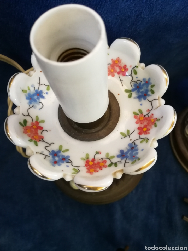 Antigüedades: Pareja lamparas de mesilla antiguas de bronce y porcelana - Foto 7 - 179248960