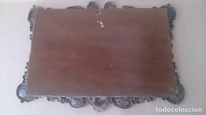 Antigüedades: Cartel (Frase de bienvenida a casa) 35x25ctms plata 925 y cristal (portugués) - Foto 4 - 179252960