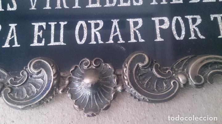 Antigüedades: Cartel (Frase de bienvenida a casa) 35x25ctms plata 925 y cristal (portugués) - Foto 7 - 179252960