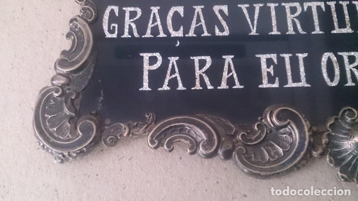 Antigüedades: Cartel (Frase de bienvenida a casa) 35x25ctms plata 925 y cristal (portugués) - Foto 8 - 179252960