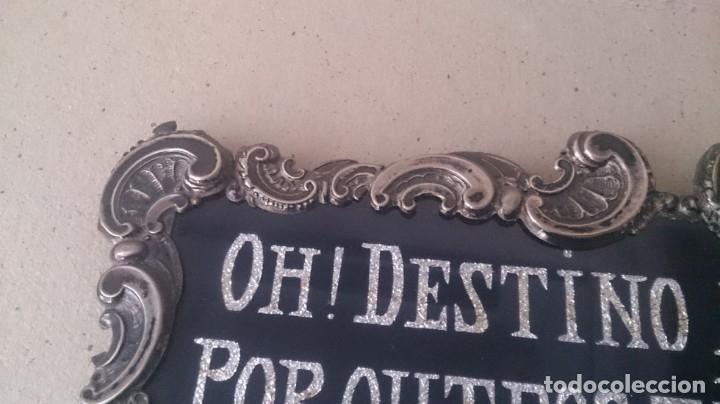 Antigüedades: Cartel (Frase de bienvenida a casa) 35x25ctms plata 925 y cristal (portugués) - Foto 9 - 179252960