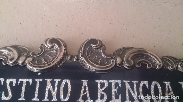 Antigüedades: Cartel (Frase de bienvenida a casa) 35x25ctms plata 925 y cristal (portugués) - Foto 10 - 179252960