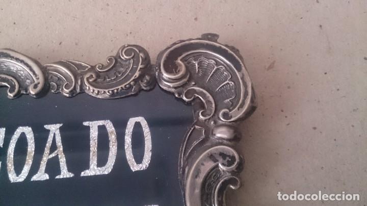 Antigüedades: Cartel (Frase de bienvenida a casa) 35x25ctms plata 925 y cristal (portugués) - Foto 11 - 179252960