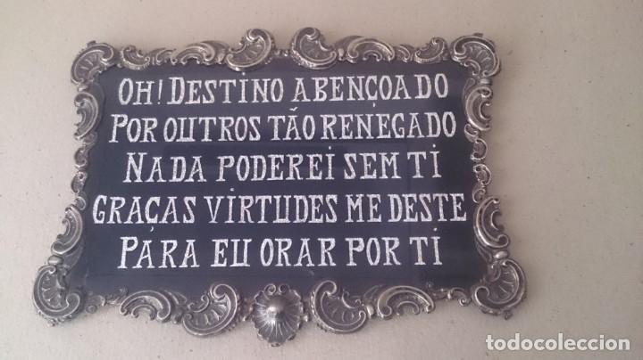 Antigüedades: Cartel (Frase de bienvenida a casa) 35x25ctms plata 925 y cristal (portugués) - Foto 12 - 179252960